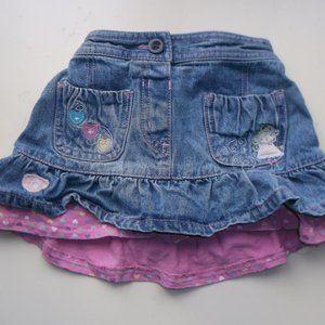 Blue and Pink Denim Skirt 6-12 months
